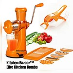 Kitchen Bazaartm Elite Kitchen Combo - Fruit & Vegetable Manual Juicer Mixer Grinder