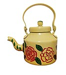 Kettle/Home Decor and Gift Purpose Metal Hand Painted Designer Tea/Coffee Kettle Yellow (21 cm x 16 cm)