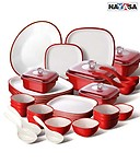 Nayasa 38Pcs Square Microwavable Dinner Set (Red)