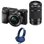 Sony Alpha ILCE 6000Y 24.3 MP Mirrorless Camera with 16-50 mm and 55-210 mm Zoom Lenses with MDR-XB550AP Headphones