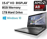 Lenovo G50 15.6-Inch(AMD Quad-Core A8 Processor up to 2.4GHz, 8GB RAM, 1TB HDD, AMD Radeon R5, DVD Drive, WLAN, Bluetooth, USB 3.0, Windows 10)