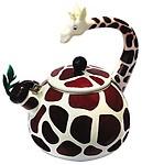 Animal Kettle 2.4 Quart Whistling Enamel on Steel Giraffe Tea Kettle