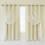 """Best Home Fashion Lace Tulle Overlay Thermal Insulated Solid Blackouts Nickel Grommet Top - 52""""W x 63""""L - (Set of 2 Panels)"""