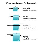 Premier Stainless Steel -Sandwich Bottom 5 Litre Pressure Cooker- ( L x B x H) 32 x 24.5 x 17.5