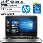 "HP Pavilion 15.6"" High Performance HD (1366x768) WLED-Backlit, Intel i7-7500U, 8GB RAM, 1TB HDD, Win10"