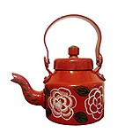 Kettle/Home Decor and Gift Purpose Metal Hand Painted Designer Tea/Coffee Kettle Red (21 cm x 16 cm)