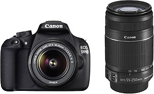 Canon EOS 1200D Kit (EF S18-55 IS II + 55-250 mm IS II) (Black) price in India.