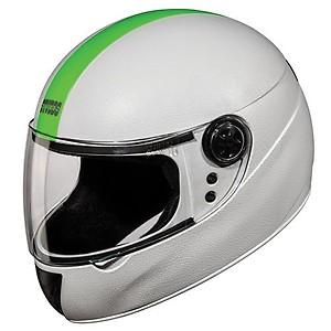 Studds Chrome Elite Helmet (White and Fluorescent Green, L)