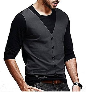 Try This Casual Partywear Cotton Full Sleeve Slim Fit Round Neck Waistcoat T Shirts For Men's And Boys