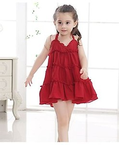 Pre Order - Awabox Tiered Flared Strap Dress - Red