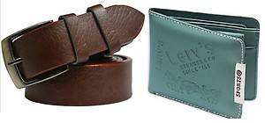 Unique Villa Green Fabric Bi-fold Wallet & Brown Belt Combo