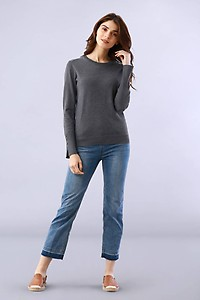 Make Happy Solid Grey Pullover