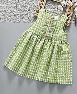 ToffyHouse Sleeveless Frock Checks Pattern - Green