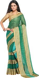 sarvagny clothing Striped Bollywood Art Silk Saree