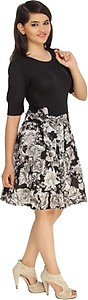 Cottinfab Women's A-line Black, White Dress
