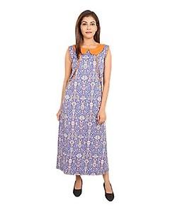 9teenAGAIN Sleeveless Cotton Maternity Nighty - Orange & Blue