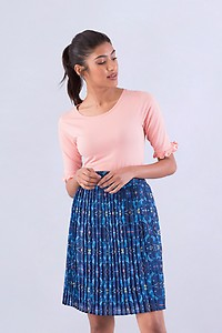 Mosaic Printed Blue Pleated Skirt
