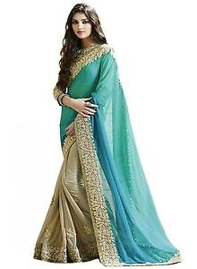 Jay Varudi Creation Georgette Saree (Varudi02_Sky Blue & Beige)