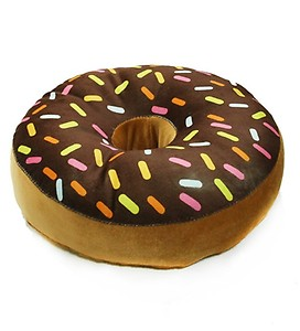 Brown Velvet 16 x 16 Inch Donut Pillow Cushion Covers with Insert by Stybuzz