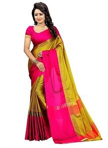 Bhuwal Fashion Solid Fashion Silk Cotton Blend Saree
