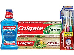 Colgate Herbal Toothpaste - 200 g with Swarna Vedshakti Toothpaste - 200 g and Plax Peppermint Mouthwash - 250ml with Free Slim Soft Toothbrush