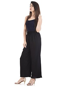 """Thari Choice Women stretchable Palazzo Pant Indian Ethnic Rayon Designer Plain Casual Wear Plazo Pant For Women's And Girls (Free Size 40"""" ) (PACK OF 1 BLACK, 1)"""