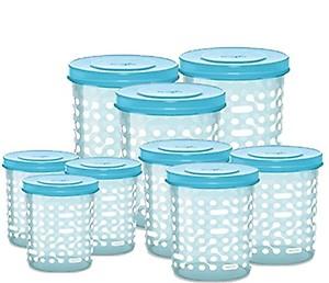 Milton Storex New Containers, Set of 9 (500ml, 750ml, 1000ml - 3 each) - Aqua Blue