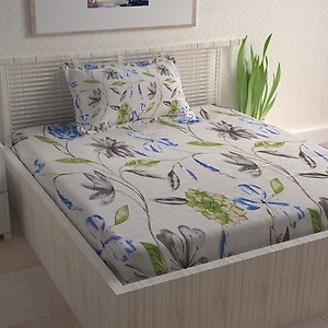CURL UP 104 TC Cotton Single Printed Bedsheet