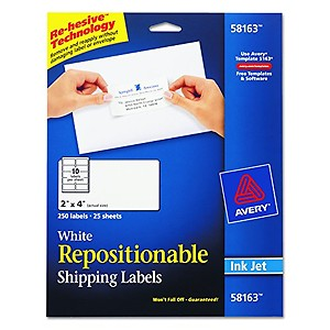 avery repositionable shipping labels for inkjet printers 2 quot x