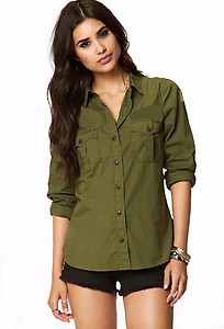 POISON IVY Women's Solid Casual Green Shirt