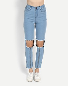 Blue Lindy Distressed Cut Out Jeans