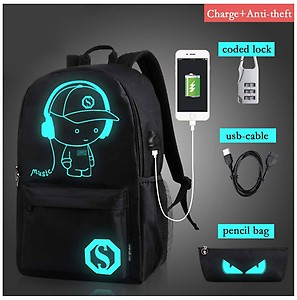 Luminous USB Charge Anti-theft Backpack Laptop bag