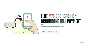 Freecharge - Flat Rs.75 cashback on Landline/Broadband/Gas Bill Payments above 1000