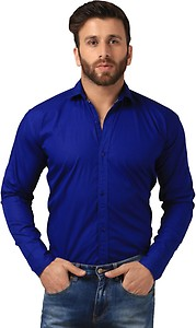 Mesh Men's Solid Casual Blue Shirt