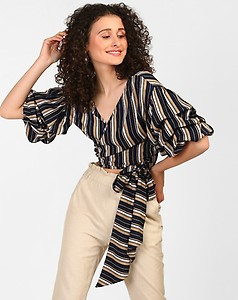 Striped Vista Knotted Wrap Around Top