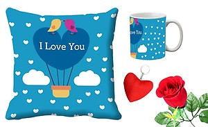 meSleep Blue Love You Valentine Digital Printed Cushion